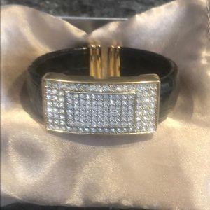 Adrienne black leather and jewel bracelet